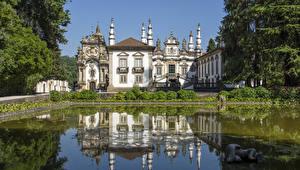Обои Португалия Пруд Дворец Дизайн Mateus Vila Real Города фото