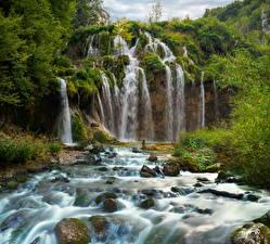 Картинка Хорватия Парки Водопады Камень Plitvice National Park