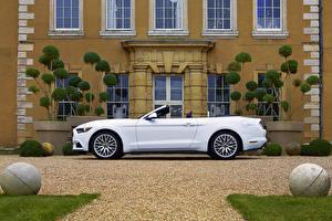 Картинка Форд Белый Кабриолет Сбоку 2015-16 Mustang EcoBoost Convertible Автомобили