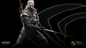 Обои The Witcher 3: Wild Hunt Воители Мужчины Геральт из Ривии Мечи Доспехи Gwynbleidd Vatt ghern Игры Фэнтези фото