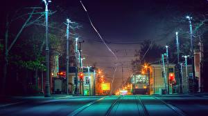 Картинки Москва Россия Дороги Здания Вечер Железные дороги Улица Уличные фонари Koptevo Города