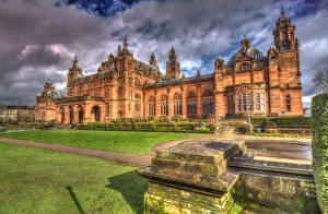 Обои Великобритания Дома Небо Дизайн Газон HDR Glasgow Kelvingrove Art Gallery Города фото
