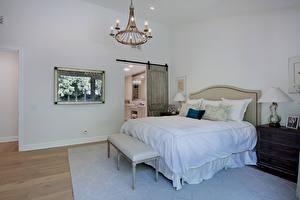 Обои Интерьер Дизайн Спальня Кровать Люстра фото