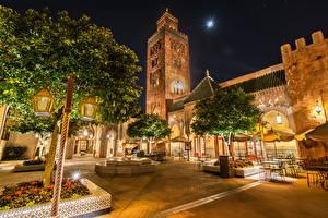 Обои США Диснейленд Парки Дома Анахайм Калифорния Дизайн HDR Ночь Деревья Города фото