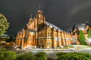 Обои Австралия Дома Дизайн Ночь Уличные фонари Музей Brisbane Города фото
