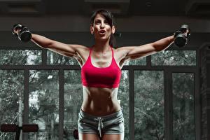 Фотографии Фитнес Живот Гантели Тренировка Спорт Девушки