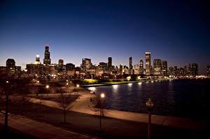 Обои Парки США Ночь Чикаго город Города фото