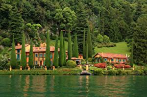 Картинки Италия Дома Реки Вилла Деревья Villa Cascianella Lombardy Города