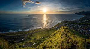Обои США Побережье Пейзаж Рассветы и закаты Небо Океан Гавайи Солнце Природа фото