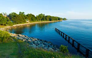 Обои Канада Озеро Побережье Камни Трава Lake Ontario Park Природа фото