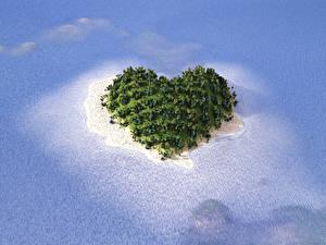 Обои Море Остров Сердце Природа 3D_Графика