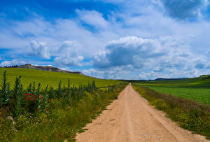 Фотографии Испания Пейзаж Дороги Поля Небо Луга Облачно Castilla Природа