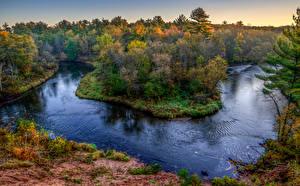 Фотография США Леса Реки HDRI Природа