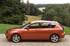 Фотографии Mazda Сбоку Оранжевый Металлик 2003-06 3 Hatchback Автомобили