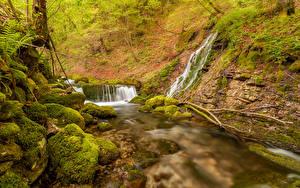 Картинки Словения Реки Водопады Камень Мох Kroparica stream Kropa