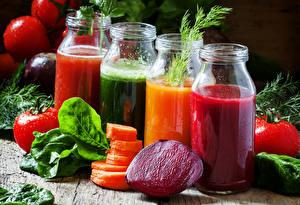 Фотографии Напитки Сок Овощи Банка Еда