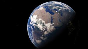 Обои Планета Земля На черном фоне