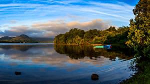 Картинка Ирландия Озеро Лодки Небо Mayo Природа