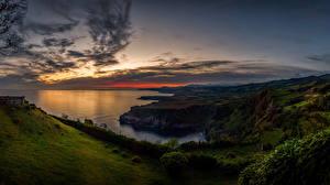 Обои Португалия Рассветы и закаты Побережье Пейзаж Небо Sao Miguel Island Природа фото