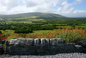 Картинки Ирландия Пейзаж Поля Камни Burren Природа