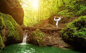 Фотография Водопады Ствол дерева Скала Йога Мох Природа Девушки