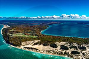 Обои США Пейзаж Озеро Побережье Crystal Lake Michigan Природа фото