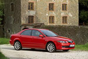 Обои Mazda Красный Седан 2005-07 6 Sedan машины