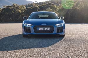Картинка Ауди Спереди Синие R8 V10 автомобиль