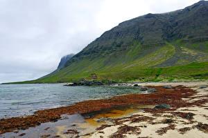 Обои Исландия Побережье Горы Westfjords Природа фото