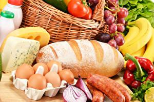 Картинка Хлеб Сыры Колбаса Овощи Фрукты Яйца Еда