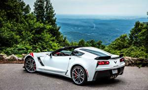 Фото Шевроле Белый Кабриолета Вид сзади 2017 Corvette Grand Sport машины