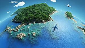 Фотография Тропики Море Остров Лес Самолеты Природа