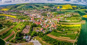 Фотография Чехия Дома Поля Сверху Borsice Города