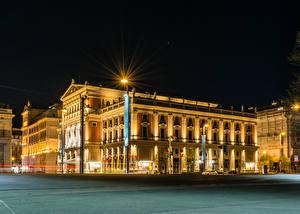 Картинки Австрия Здания Вена Ночь