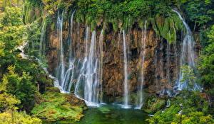 Обои Хорватия Парки Водопады Скала Plitvice National Park