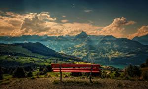 Фотография Швейцария Пейзаж Горы Поля Небо Скамейка Облака Amden Природа
