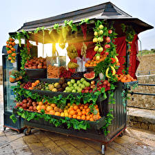 Картинка Фрукты Овощи Цитрусовые Много Еда