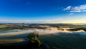 Обои Чехия Пейзаж Поля Небо Дороги Тумана Sucha Loz Природа
