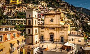 Фото Италия Дома Храмы Позитано Амальфи Amalfi Coast Города
