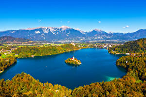 Картинки Словения Пейзаж Озеро Остров Гора Bled Природа