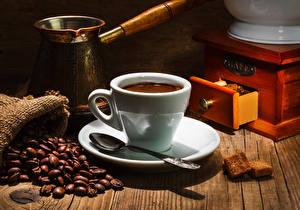 Обои Напитки Кофе Чашка Зерна Ложка Турка Еда