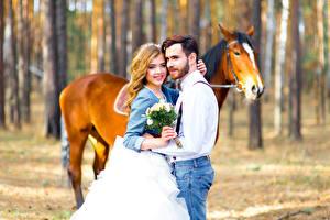 Фотография Мужчины Любовь Лошади Букеты Любовники Блондинка Красивые Девушки Животные