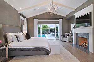 Обои Интерьер Дизайн Спальня Кровать Люстра Камин фото