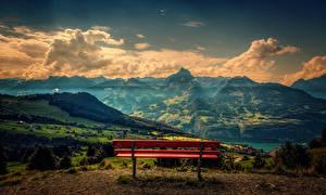 Фотографии Пейзаж Гора Скамья Облако The red bench Природа