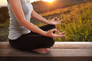 Фотография Поза лотоса Руки Йога Сидящие meditation Девушки