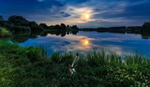 Картинка Пейзаж Рассветы и закаты Реки Небо Рыбалка Трава Природа