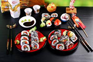 Фотографии Морепродукты Суши Тарелка Пища Еда