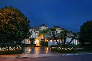 Обои США Дома Калифорния Особняк Дизайн Пальмы Деревья Ночь Города фото