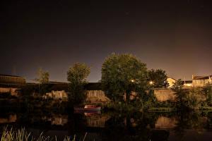 Картинки Ирландия Речка Деревья Ночные River Bann Portadown Природа