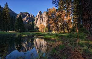 Фотография Штаты Парки Горы Озеро Йосемити Дерева Cathedral Rocks